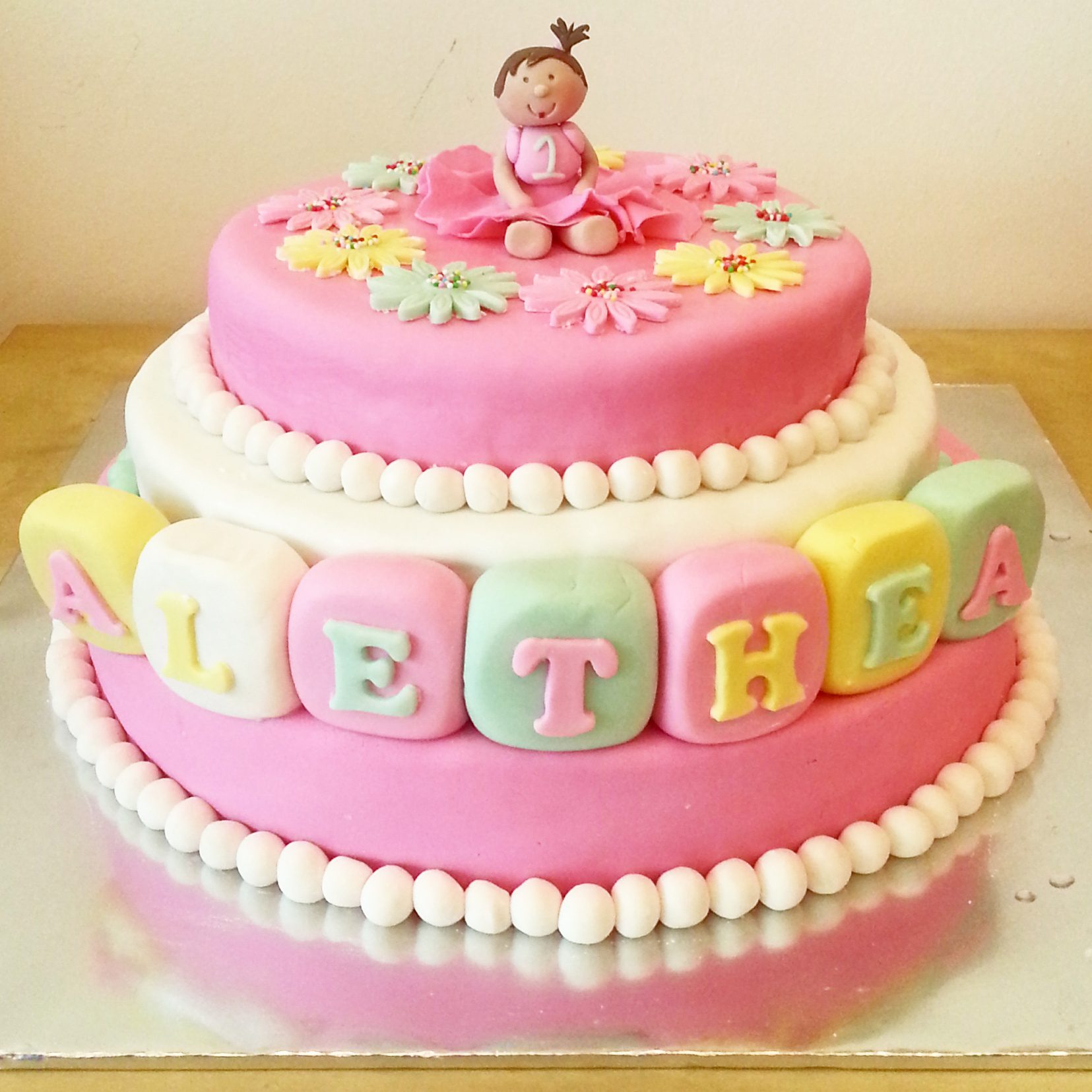 Tremendous 3D Fondant 3 Tier Princess Theme 1 Year Old Cake Delcies Personalised Birthday Cards Cominlily Jamesorg